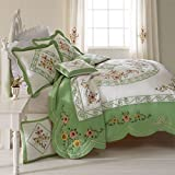 BrylaneHome Ava Oversized Embroidered Cotton Quilt (Green,King)