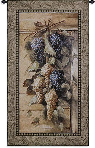 Poetic Grapes by Riccardo Bianchi | Woven Tapestry Wall Art Hanging | Purple and White Grape Garland Classic Themed Artwork | 100% Cotton USA Size 45x26