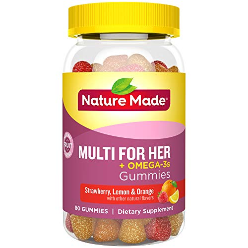 - Nature Made Multi for Her + Omega-3 Adult Gummies w. 60 mg of EPA and DHA Omega 3, 80 Ct