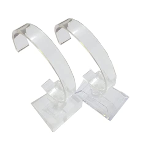 2 soportes para relojes de pulsera para casa o tienda, transparentes.