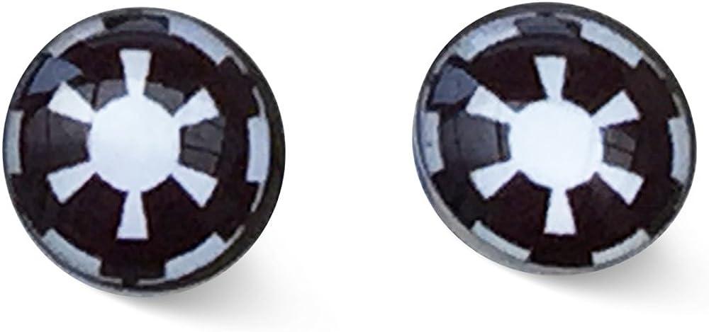 De acero inoxidable 8 mm lmperio Imperial. Blanco y negro de diseño pendientes del perno prisionero de la joyería.