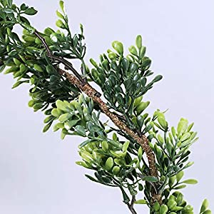 "WINDIY SUPLA 6.6' Long 4.3"" Wide Artificial Boxwood Greenery Garland Faux Boxwood Greenery Garland String Hanging Boxwood Twigs Vine Garland Table Runner for Spring Weddings Indoor Outdoor Décor 3"