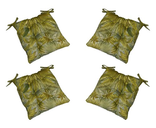 Set of 4 - Indoor / Outdoor Tommy Bahama Blue Green Tan Tropical Palm Leaf Print Universal Tufted Seat Cushions with Ties for Dining Patio Chairs - Choose Size (19 1/2'' x 18 1/2'') by Resort Spa Home Decor