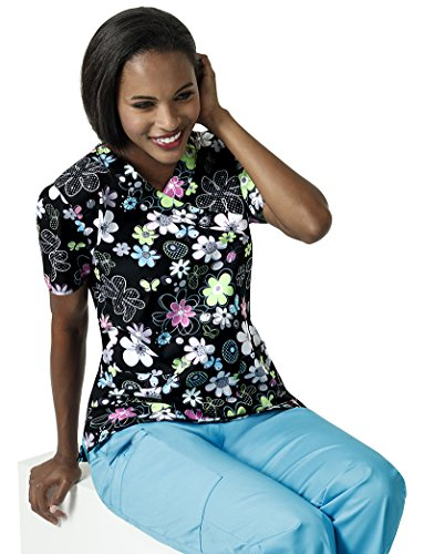 Zoe and Chloe Women's V-Neck Floral Print Scrub Top Medium Print - Mock Wrap V-neck Scrub Top