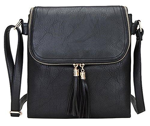 Big bolso Shop para mujer tamaño mediano MODA Messenger Cruz Cuerpo Bolsa de hombro Design 5 - Black