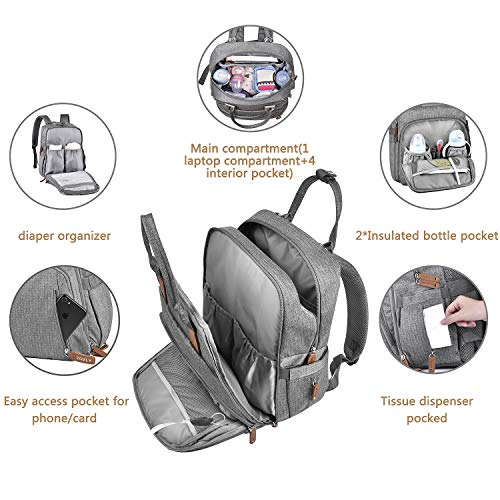 Diaper Bag Backpack with Changing Mat, Nappy Changing Backpack, Multifunction Travel Back Pack, Maternity Baby Changing Bags with Stroller Straps, Waterproof & Large Capacity for Dad Dark Gray
