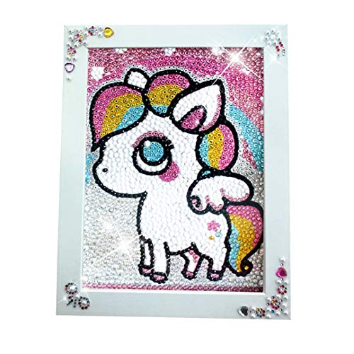- qiaoniuniu Pony Diamond Painting for Kids Full Drill Painting by Number Kits , Unicorn Toys, Arts Crafts Hobby Supply Set, Rhinestone Mosaic Making Gifts for Christmas Birthday -Include Wooden Frame