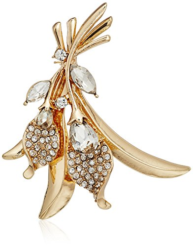 Napier Gold Tone Brooch - Napier Gold-Tone and Crystal Flower Brooch Pin