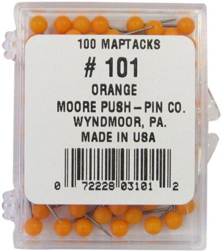 Moore Push-Pin Orange Map Tacks (101) - Moore Push Pin