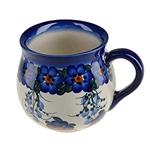 BCV Classic Boleslawiec, Polish Pottery Hand Painted Ceramic Mug, Barrel (300, U-001)