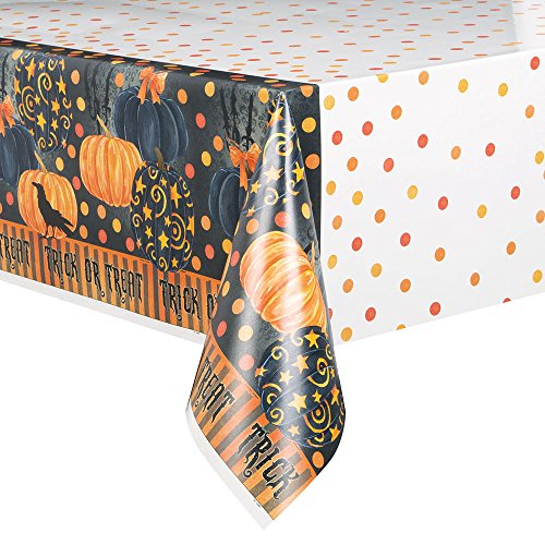 Painted Pumpkin Halloween Plastic Tablecloth, 84