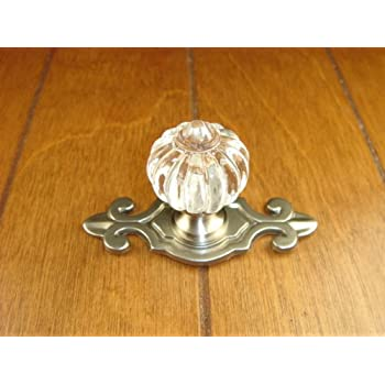 Delicieux Sonoma Cabinet Hardware Roman Knob Brushed Satin Nickel With Fleur De Lis  Backplate