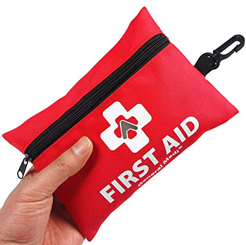 General Medi Mini First Aid Kit,92 Pieces Small First Aid Kit - Includes Emergency Foil Blanket,CPR Face Mask,Scissors for Travel, Home, Office, Vehicle,Camping, Workplace & Outdoor -