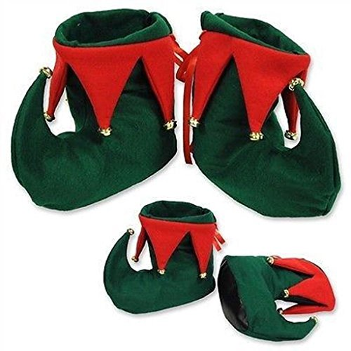 [CHRISTMAS Party Costume Accessory Santa's Helper ELF BOOTS Shoes Jingle Bells] (Childrens Santas Helper Costume)