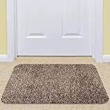 "ceramic tile that looks like hardwood Indoor Doormat Super Absorbs Mud Mat 36""x 24"" Latex Backing Non Slip Door Mat for Front Door Inside Floor Dirt Trapper Mats Cotton Entrance Rug Shoes Scraper Machine Washable Rug Carpet Brownish Tan"
