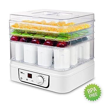 amzdeal – Secador de alimentos yogur eléctrica 2 en 1 fruta deshidratador de alimentos para alimentos