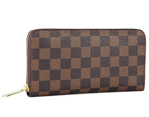 (Miracle Checkered Zipper Around Wallet | RFID Blocking | with Phone Clutch/Card Holder/Cash Organizer for Men Women | Blended Cowhide Leather (brown))
