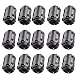 Caisheng 15 Pcs Magnetic Ferrite Cores EMI RFI Noise Filter Clip 13mm Diameter-Black