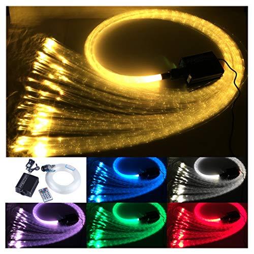 Fiber Home Optic Lighting - CHINLY 16W Remote RGBW fiber optic curtain light 300pcs 1.0mm flash point 9.8ft waterfall sensory light kit
