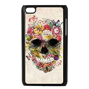 Ipod Touch 4 2D Custom Phone Back Case with Flower Skull Image