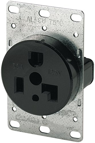 - Eaton 1233 30 Amp 125V 5-30R 2-Pole/3-Wire Flush Mount Power Receptacle, Black