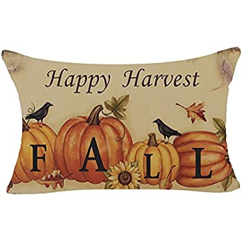 Retro Autumn Pumpkin Maple Leaves Birds Happy Fall Harvest Thanks Thanksgiving Gifts Cotton Linen Home Office Decorative Throw Waist Lumbar Pillow Case Cushion Cover Rectangle 12X20 Inches
