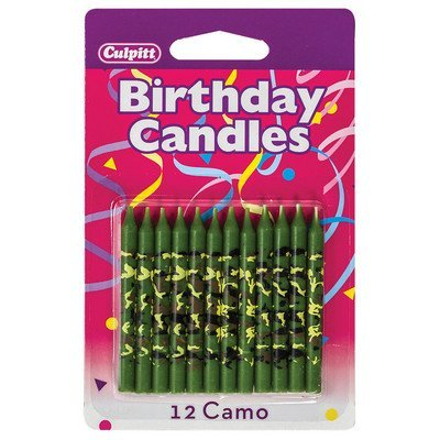 Camo Print Birthday Cake Candles - 12 ct