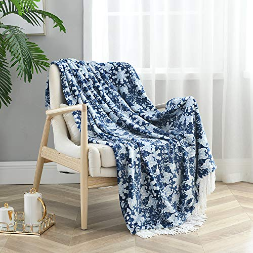 Monarca Flannel Throw Blanket with Deceorative Tassels, Soft All Season Printed Throw for Home, Couch, Outdoor, 50