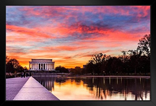 Sunset at The Lincoln Memorial Washington DC Photo Art Print Framed Poster 20x14 inch