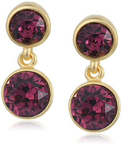 Kenneth Jay Lane 2 Drop Post Earring Simulated Amethyst Drop Earring