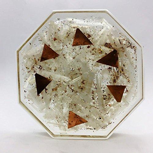 Crocon Selenite Orgone Octagon Gemstones Vastu Plate Vedic Astrology Wealth Crystal Energy Generator Size 3.5-4 Inch