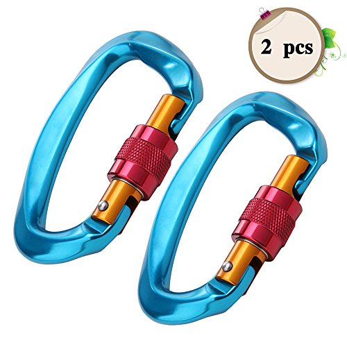 O-sport 2Pcs 26KN Screwgate Camping Carabiner D Ring Climbing Clip Heavy Duty Locking Hook Outdoor Ultralight Aircraft Aluminum Alloy Climbing Equipment by Od-sport