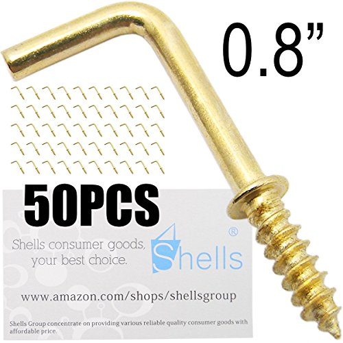 Shells 50PCS Gold Color Copper Plated Metal Right-angle Hooks 7 Shape Screw Hooks Self-tapping Screws Hooks L Shape Hooks 0.8 Inch - Right Shell