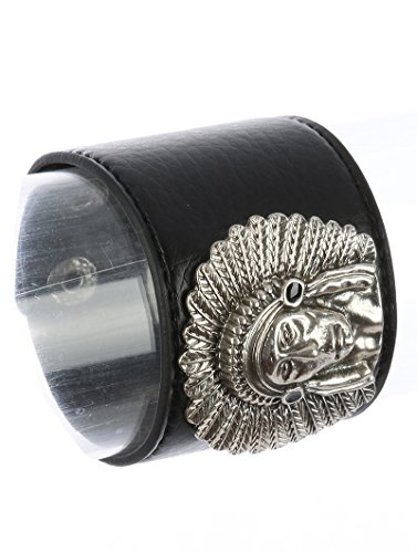 Parisian Chic Bracelet Native American Chief Faux Leather Band Aged Finish Hammered Metal Snap Button Closure Black