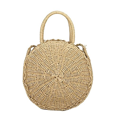 HOSPORT Women Straw Handbag Round Straw Woven Shoulder Bags Beach Zipper Totes