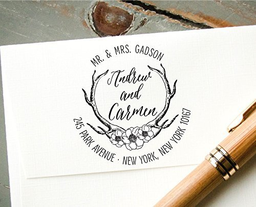 Self-Inking Return Address Stamp, Antler and Roses Custom Rubber Stamp, Wedding Invitation Stamp by InkMeThis Calligraphy & Engraving