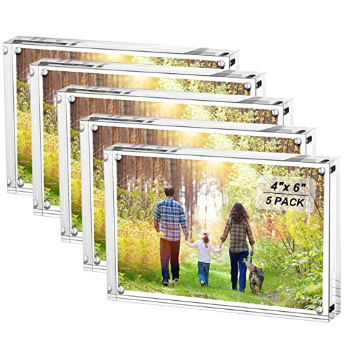 Boxalls 4x6 Inches Acrylic Picture Frames- 5 Pack, Desktop Frameless Photo Frames with Magnetic, Double Sided Transparent (5 Pack)