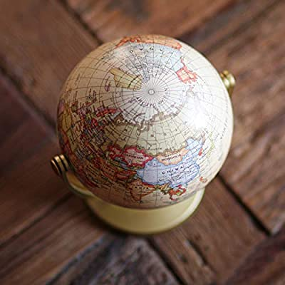 Desktop Vintage Small World Swivels in All Directions Educational Scang Mini Antique Globe 4.17-inch // 10.6 cm Decorative Unique Mini Antique Globe Yellow