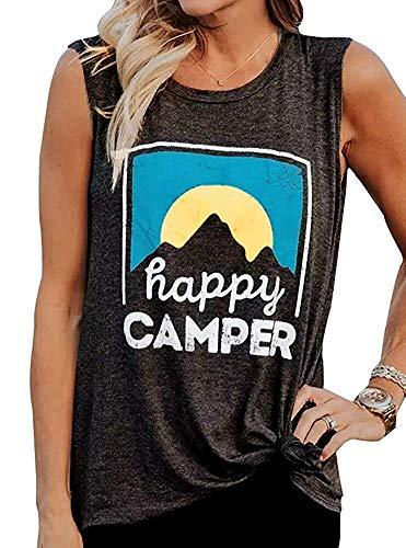 - MOMOER Women Happy Camper Shirt Sunrise Graphic Tees Summer Holiday Sleeveless Tank Top T-Shirt Blouse Dark Grey