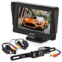 "Backup Camera - Wireless Car Rearview License Plate Camera Waterproof Night Vision Backup Camera with 4.3"" LCD Monitor and Wireless Transmitter & Receiver"