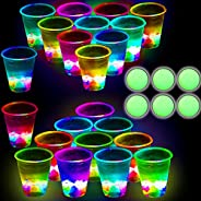 Glowing Party Beer Pong Drinking Game for Indoor Outdoor Party Event Fun, Pack with Flashing Color Bright Glow