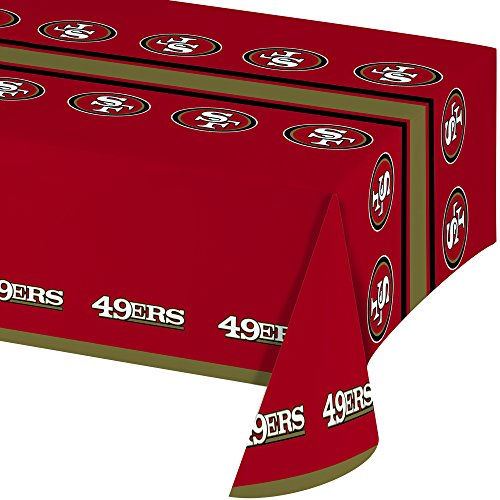 (Creative Converting Officially Licensed NFL Plastic Table Cover, 54x102, San Francisco 49ers)