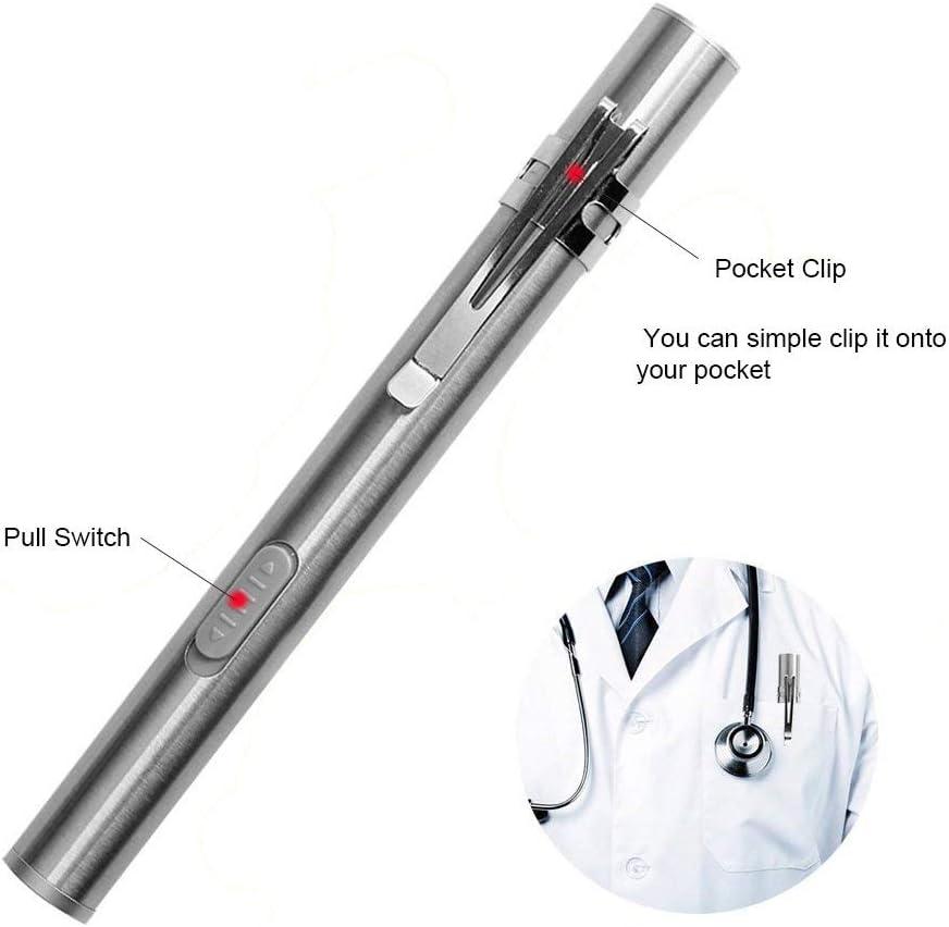 Linterna M/édica con Bolsillo Peque/ño Mini Linterna Medica Pr/áctica Linterna Antorcha LED Peque/ña con Clip de Acero Inoxidable para Estudiantes de Medicina Doctores Paquete de 2