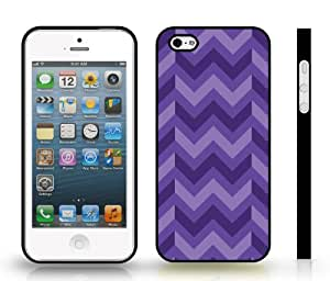 Chevron Zig Zag Purple/ Pink Stripe Snap-on Cover Hard Carrying Case for iPhone 4/4S (black)