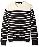 IZOD Men's Big and Tall Newport Fine 7 Gauge Stripe Crew Sweater, Stripe Asphalt, 2X-Large Tall
