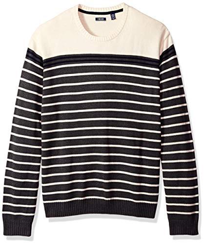 IZOD Men's Tall Fine Gauge Stripe Crew Sweater, Stripe Asphalt, 4X-Large Big by IZOD