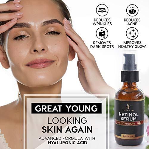 51ma1bMy0uL - Retinol serum for face (2oz) with Hyaluronic Acid + Vitamin A and E + Aloe Vera Anti aging moisturizer - Fade Dark Spots - Clinical Strength Formula