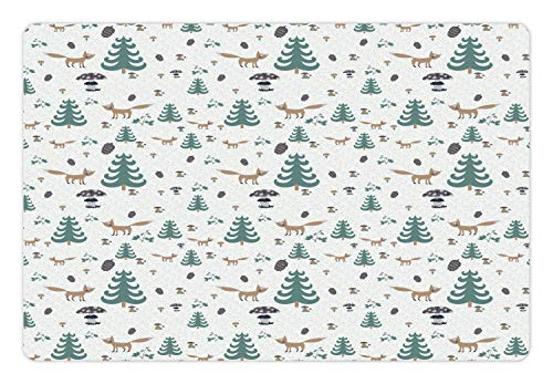 - Ambesonne Forest Friends Pet Mat for Food and Water, Continuous Pattern with Trees Pine Cones Foxes and Mushrooms in Rain, Rectangle Non-Slip Rubber Mat for Dogs and Cats, Multicolor