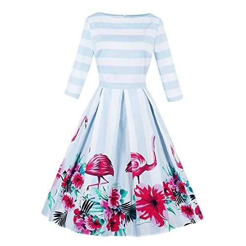 [Women Retro Vintage 3/4 Sleeve Stripes Swan Printing Cocktail Swing Evening Party Dresses] (70s And 80s Dress)
