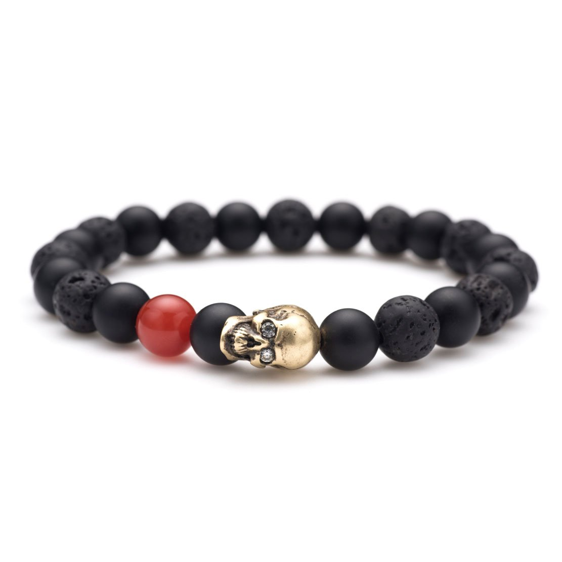 Karseer Black Matte Onyx and Lava Energy Stone Beaded Stretch Bracelet, Retro Bronze Skull Gothic Punk Charm with Red Agate Emphasized Personality Bangle Jewelry Birthday Gift Unisex 7''